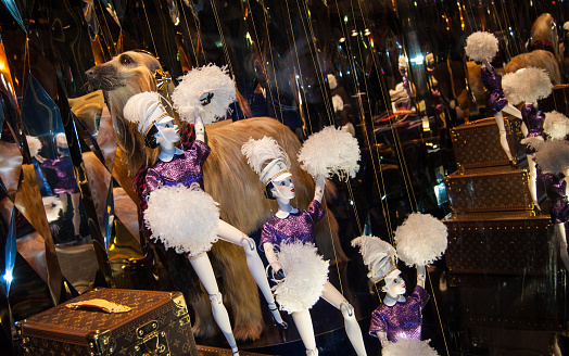 Christmas  decoration in the windows of Galeries Lafayette department store.