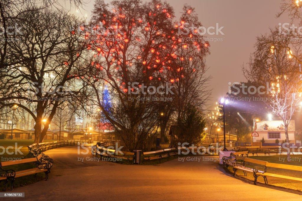 Weihnachtsdekoration in Wien, Park in der Nähe von Rathaus (Rathaus), Österreich – Foto