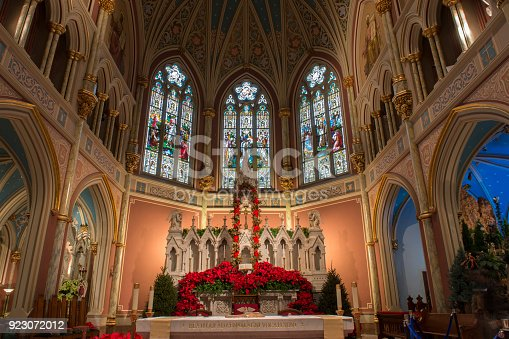 Altar with Christmas decoration inside the Cathedral of St John the Baptist in Savannah, Georgia, USA