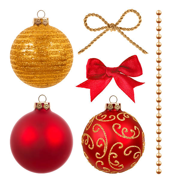 christmas decoration isolated on white - chain object stock photos and pictures
