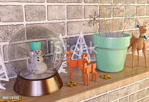 istock Christmas decoration items on the shelf 500175102