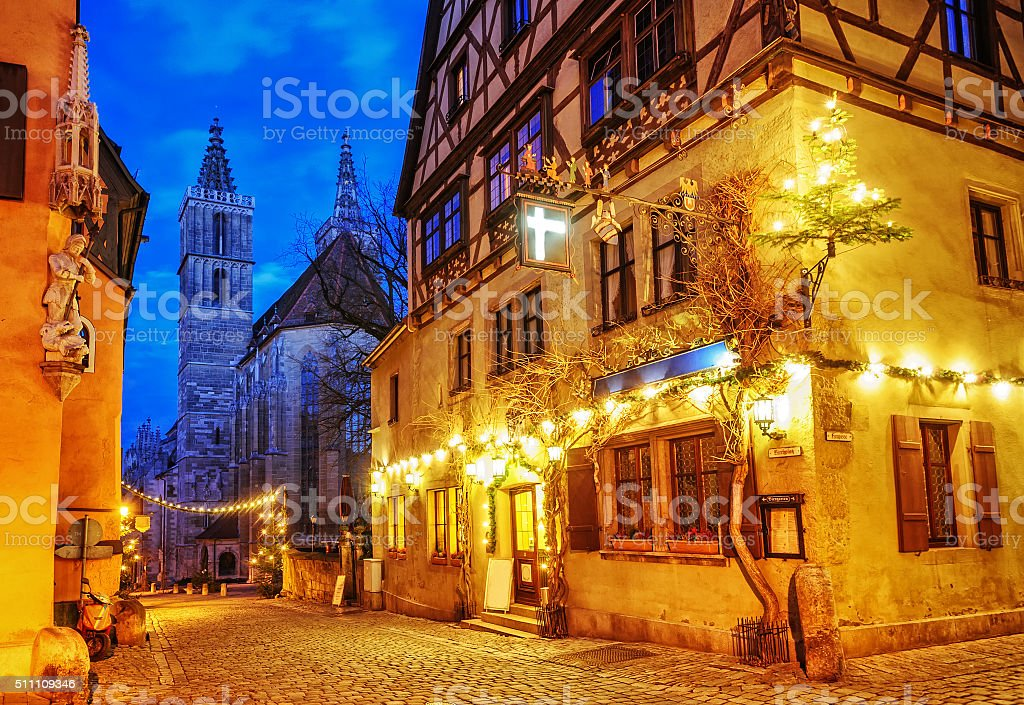 Christmas decoration lights, Rothenburg ob der Tauber, Germany stock photo