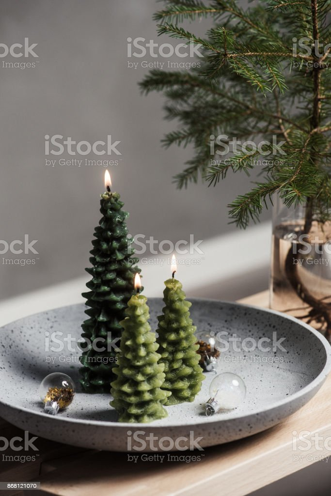 Christmas decoration lights still life scandinavian style stock photo