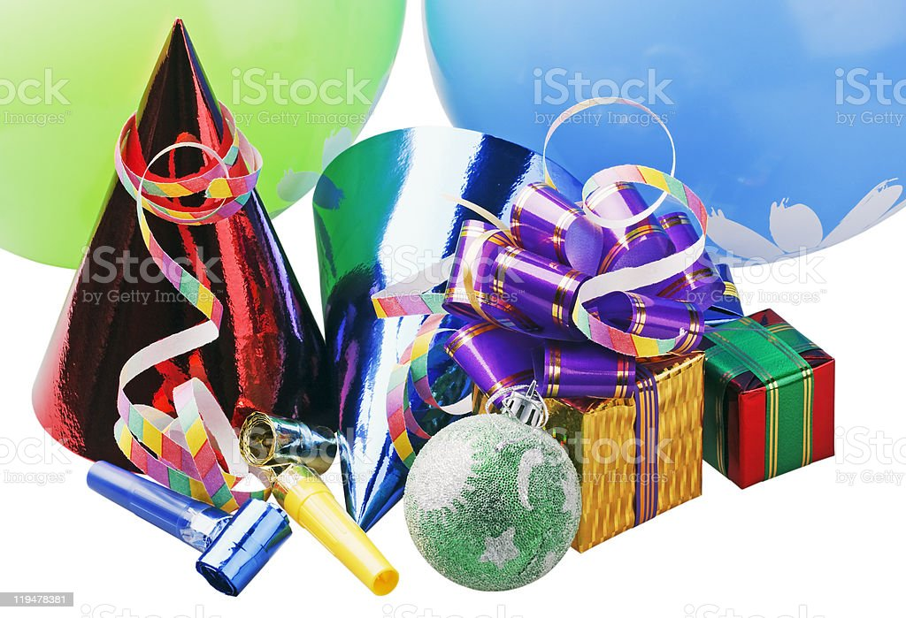 Christmas decoration of balloons and gifts stock photo