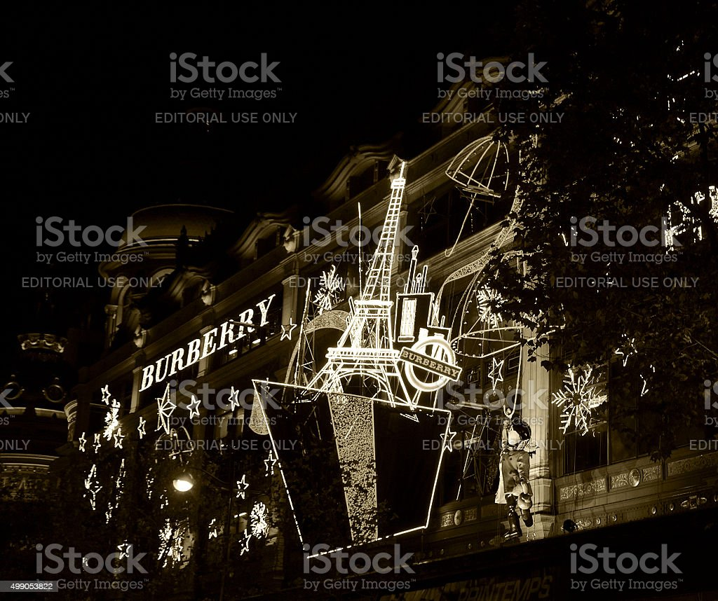 Christmas decoration of Printemps department store. stock photo