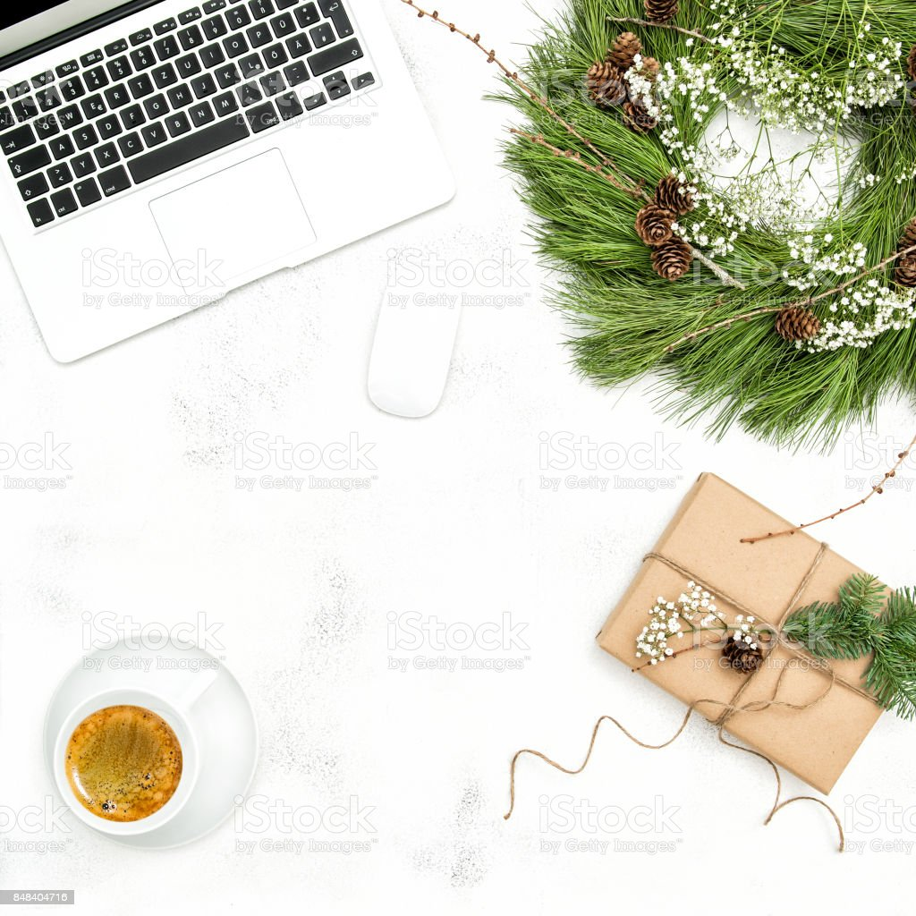 Christmas decoration office working place Flat lay stock photo