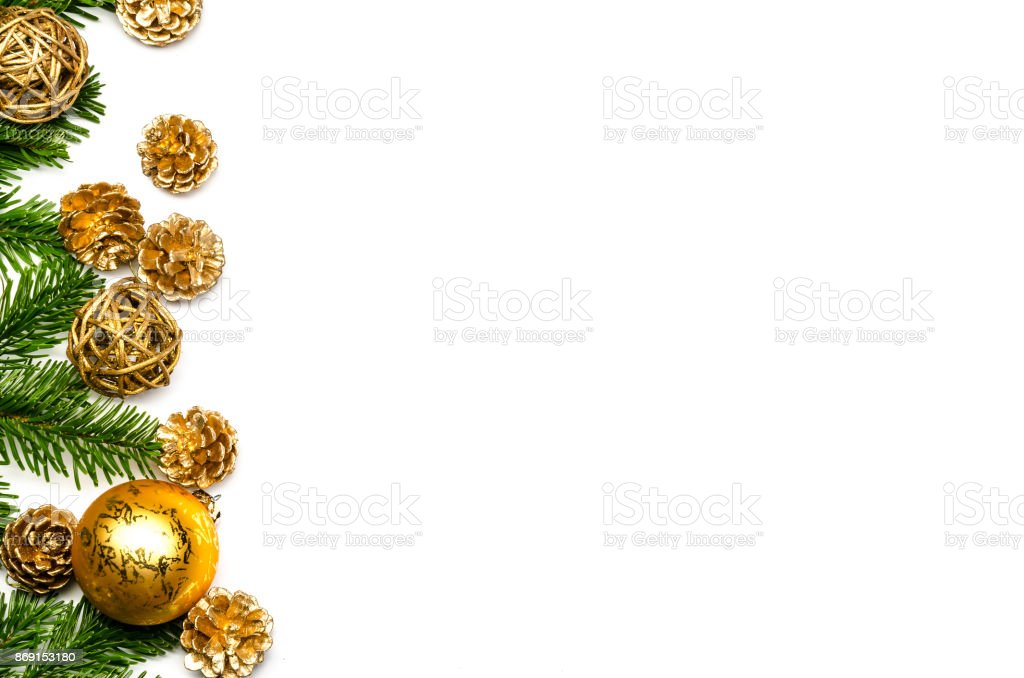 christmas decoration on a white background with copy space stock photo