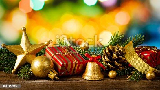 istock Christmas decoration on abstract background 1063583610