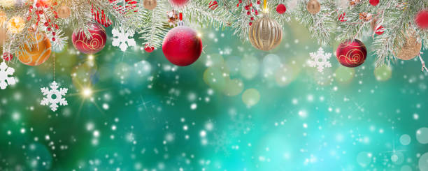 christmas decoration on abstract background - christmas green stock photos and pictures