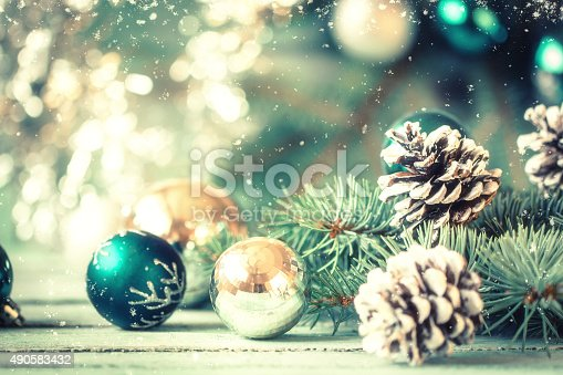 istock Christmas decoration on abstract background,vintage filter,soft focus 490583432