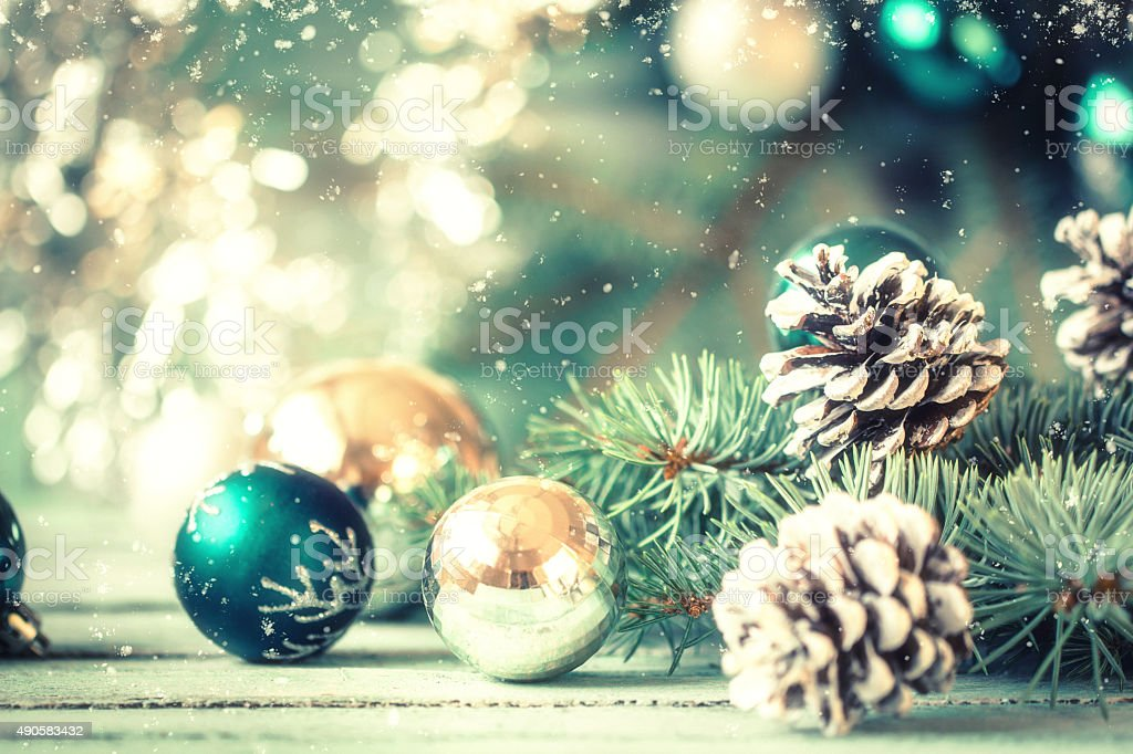 Christmas decoration on abstract background,vintage filter,soft focus stock photo