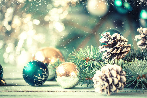 christmas decoration on abstract background,vintage filter,soft focus - christmas green stock photos and pictures