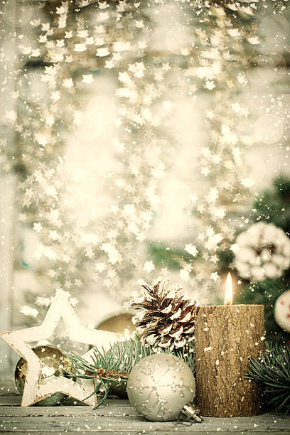 christmas decoration on abstract background,vintage filter,soft focus - vintage ornaments stock photos and pictures