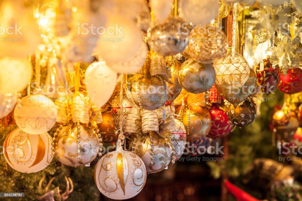 Christmas decoration on an european market stock photo