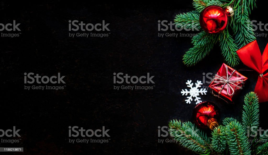 Christmas Decoration On Dark Black Background Flat Lay