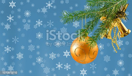 istock Christmas decoration on fir branch close-up 1070973710