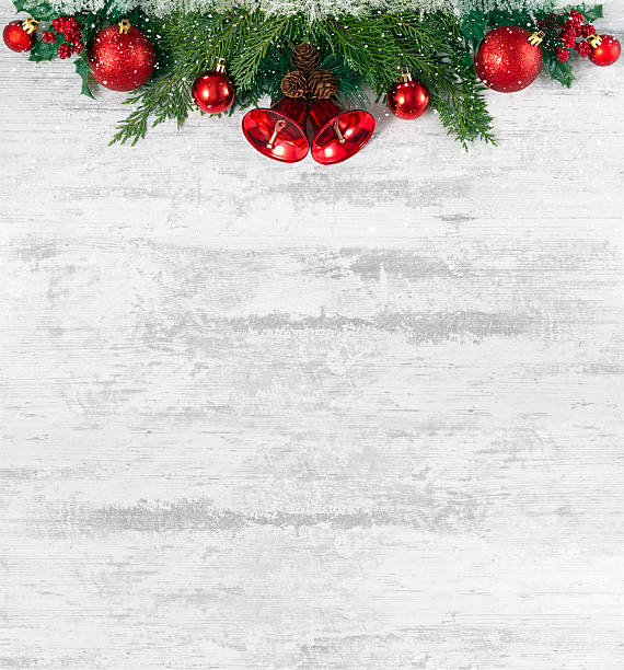 christmas decoration on old grunge wooden board - vintage ornaments stock photos and pictures