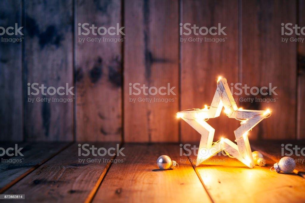 Décoration de Noël sur le vieux bois - Candle Jar carte - Photo