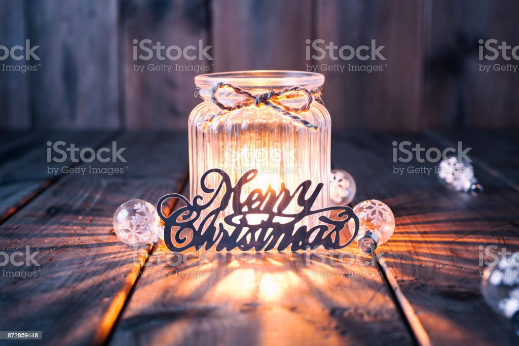 Christmas decoration on old wood - Candle Jar Card stock photo