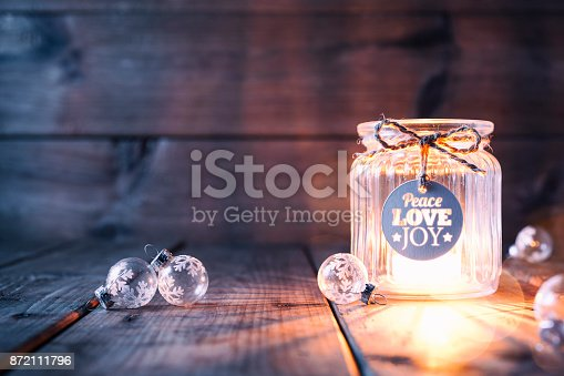 istock Christmas decoration on old wood - Candle Jar Label Card 872111796