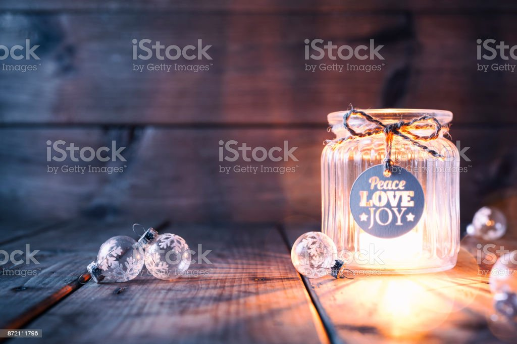 Christmas decoration on old wood - Candle Jar Label Card stock photo
