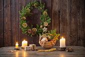 Christmas decoration on dark old wooden background