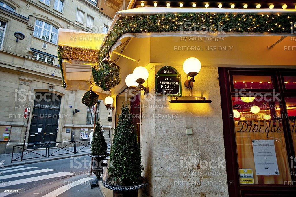 Christmas Decoration on Paris Restaurant royalty-free stock photo