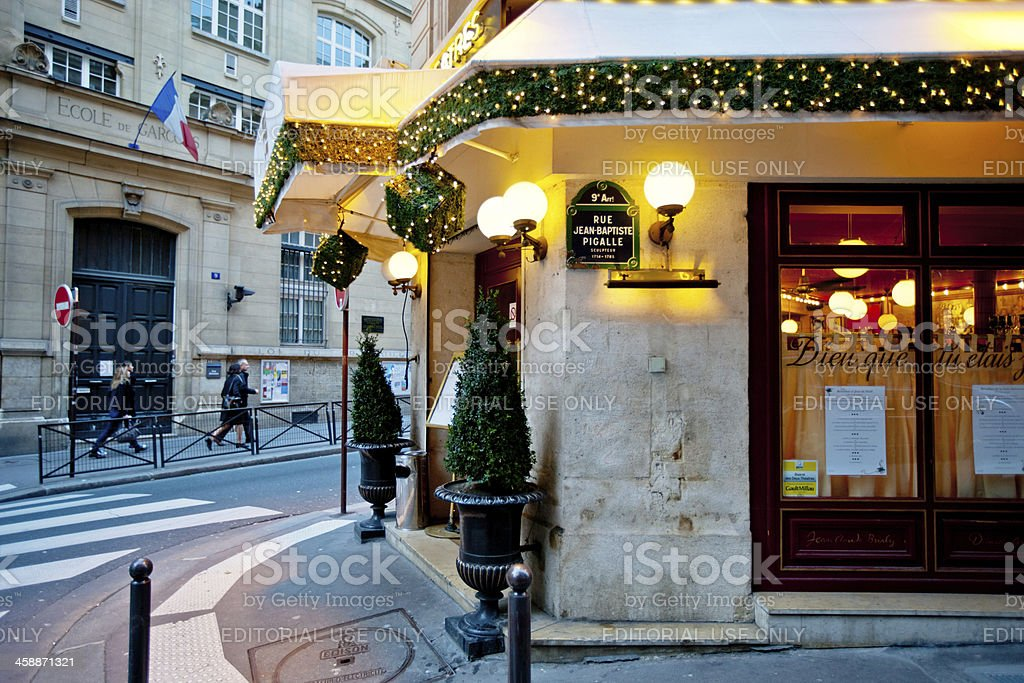 Christmas Decoration on Paris Restaurant royalty-free stock photo