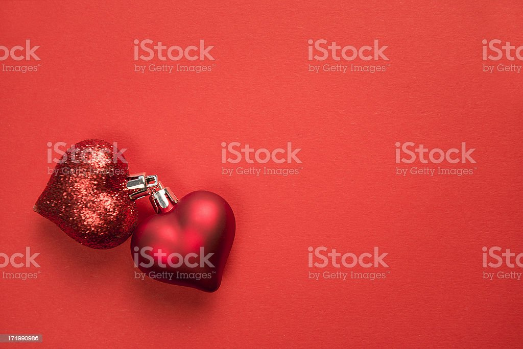 Christmas decoration on red background royalty-free stock photo