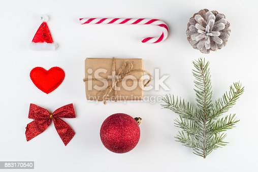 istock Christmas decoration on the white 883170540