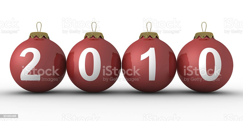 Weihnachtsdekoration auf weißem Hintergrund. 2010 Jahr. Isolierte 3D-Bild Lizenzfreies stock-foto