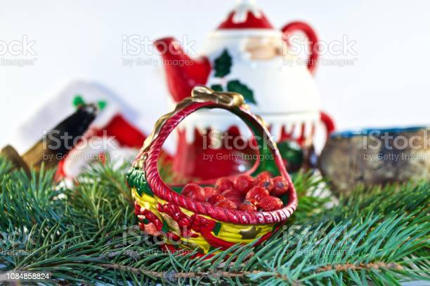 Christmas decoration on white background with red berries and green fir