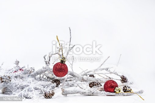 istock Christmas decoration on white background. Table paper Calendar of Year 2019 1076218630