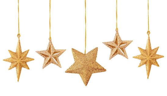 Set of gold stars isolated on white background.