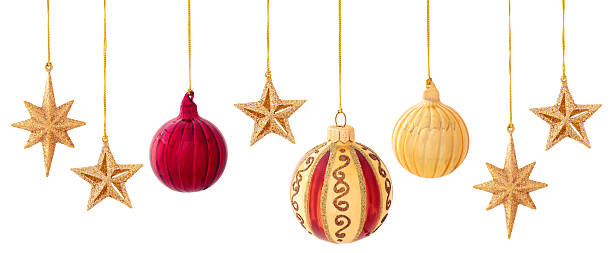 christmas decoration on white. - christmas decoration golden star bildbanksfoton och bilder