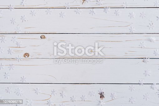 istock christmas decoration on white wood background with copy space. 1076095276