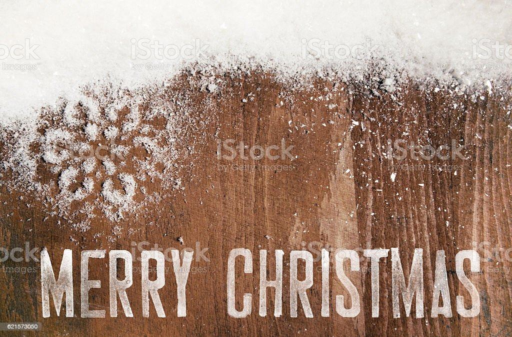 Christmas Decoration On Wood – Snowflake And Merry Christmas photo libre de droits