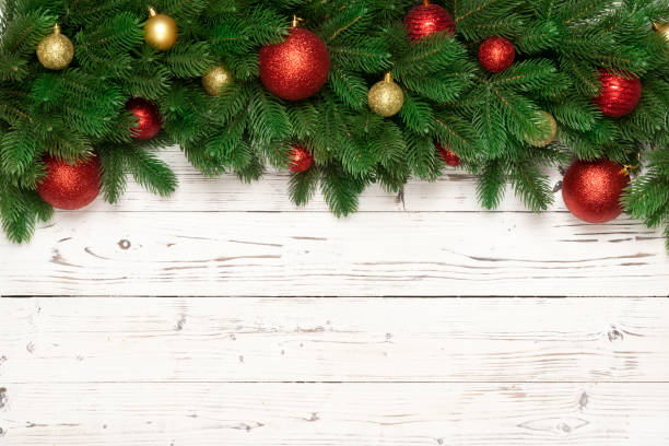 christmas decoration on wooden background.  flat lay. - floral garland stock pictures, royalty-free photos & images