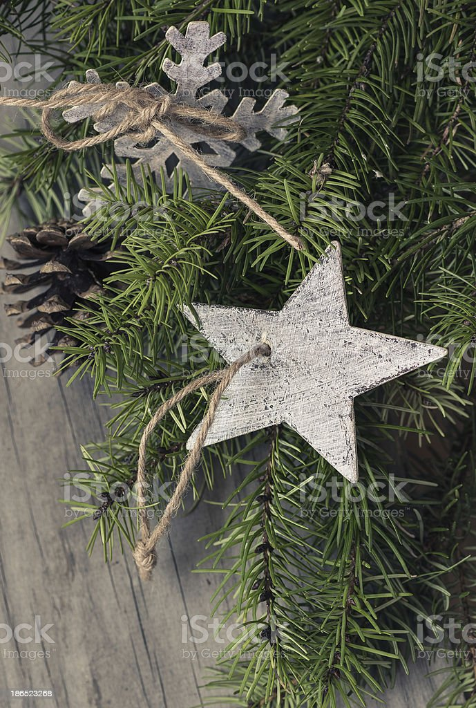 Christmas decoration on wooden background. royalty-free stock photo