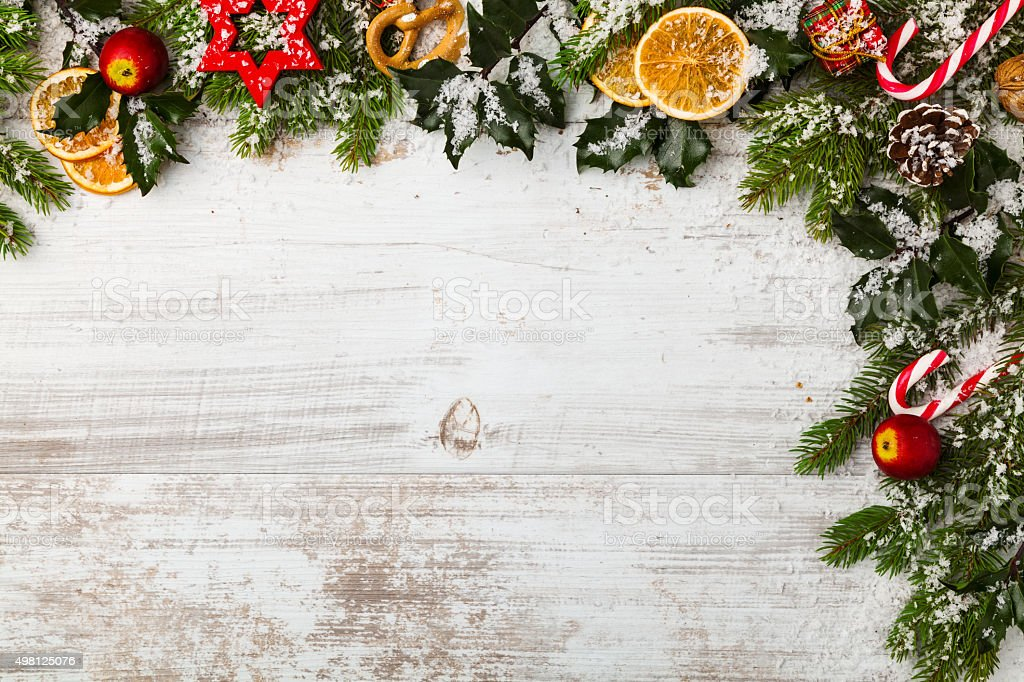 Christmas decoration on wooden boards. stock photo