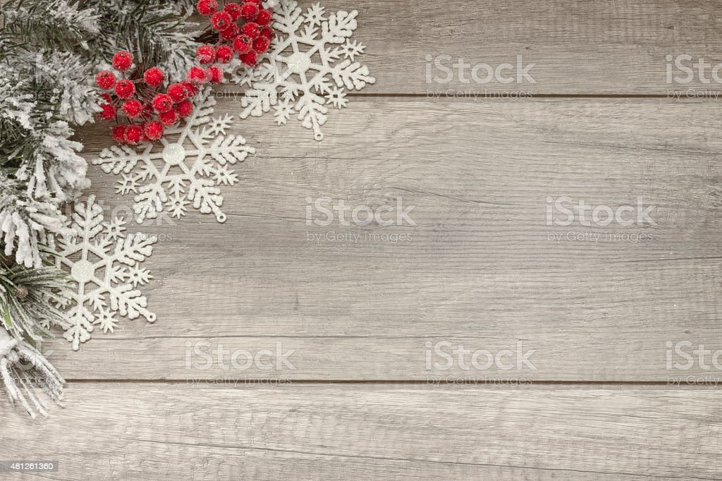 Christmas decoration on wooden planks stock photo