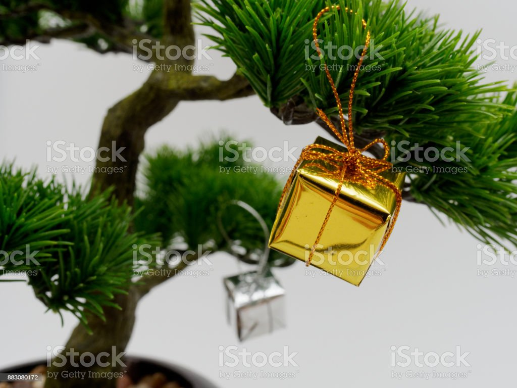 Christmas Decoration Or Ornament Hang On Artificial Bonsai Tree Composed Of Gold And Silver Gift Box Isolated On White Background Stock Photo Download Image Now Istock