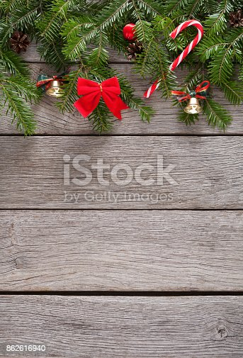 istock Christmas decoration, ornaments and garland frame background 862616940