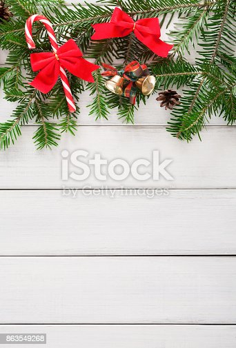 istock Christmas decoration, ornaments and garland frame background 863549268