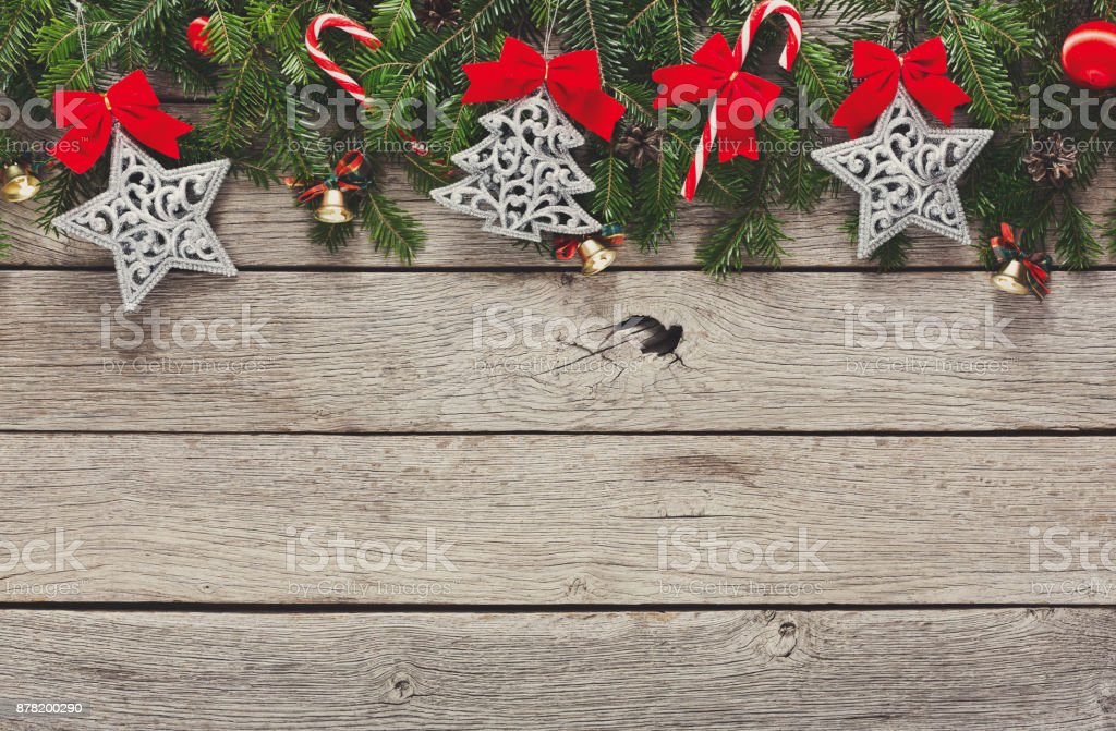Christmas decoration, ornaments and garland frame background stock photo