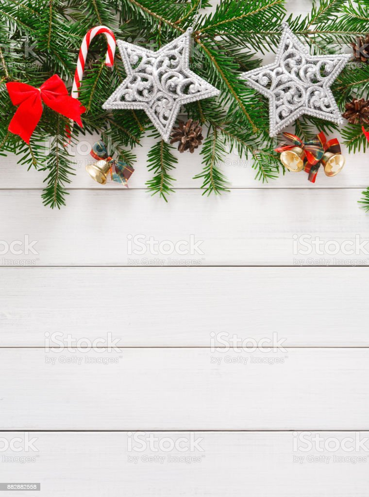 Christmas Decoration Ornaments And Garland Frame Background stock ...
