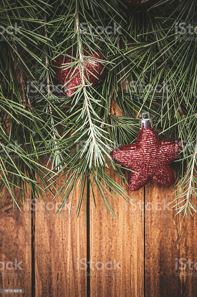 Christmas decoration ornaments on pine tree royalty-free stock photo