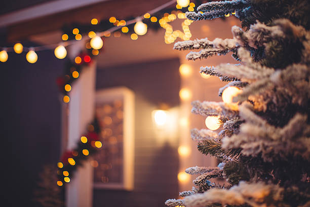 christmas decoration outdoors. - garland decoration stock photos and pictures