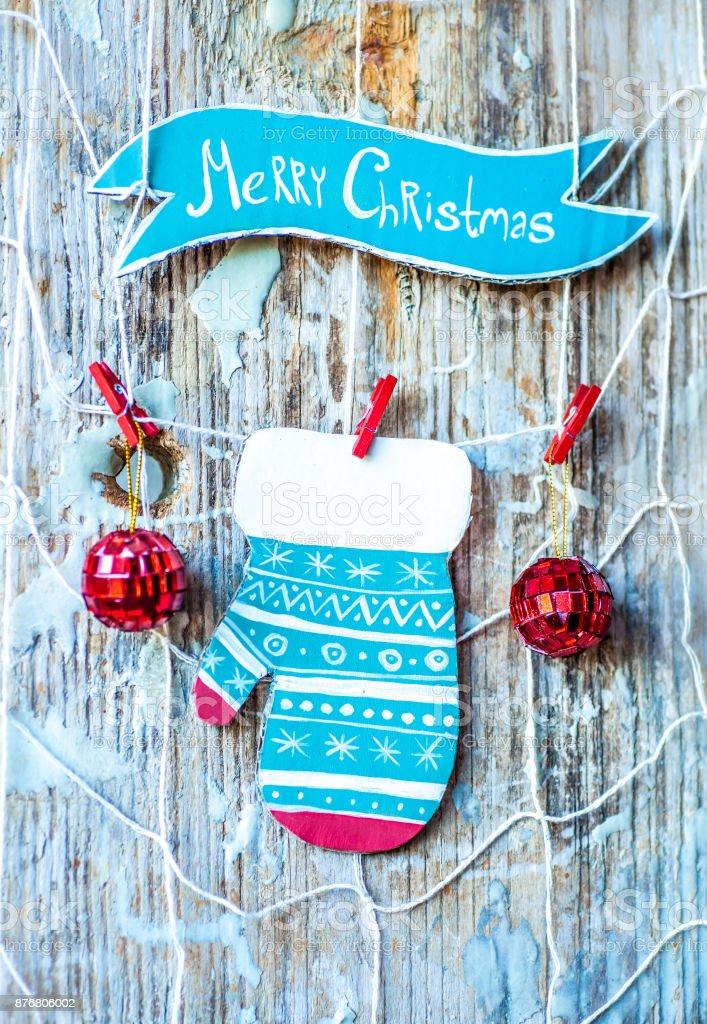 Christmas Decoration Over Grunge Backgroundvintage Paper Handmade