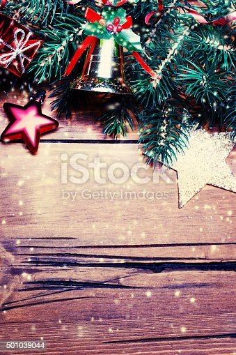 istock Christmas decoration over wooden board. Christmas background. Wi 501039044